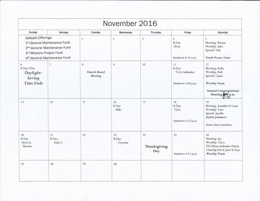 Monthly Calendar Of Events : Monthly calendar church of god th day alfred n d